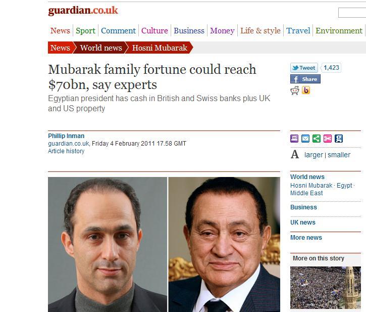 عنوان صحيفة الجارديان عن حجم ثروة مبارك الذي أثار جدلا واسعا ولم يتبين صحته حتى الآن